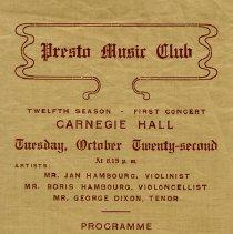 Image of Presto Music Club Concert Program, 1911