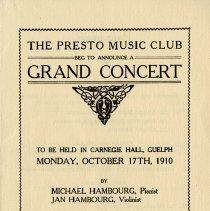 Image of Presto Music Club Concert Announcement, 1910