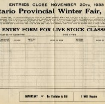 Image of Entry Form for Live Stock Classes
