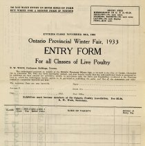 Image of Entry Form for all Classes of Live Poultry
