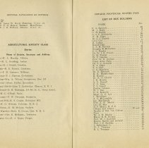 Image of Agricultural Society Class; List of Box Holders, pages 66, 67