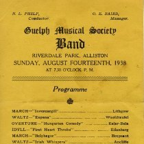 Image of Guelph Musical Society Band Program, Aug. 14, 1938