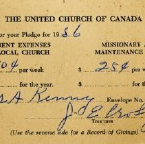 Image of United Church of Canada Pledge Card