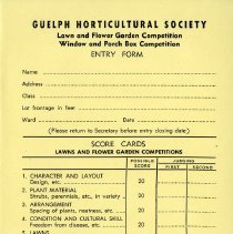 Image of Entry Form to Lawn and Flower Garden Competition