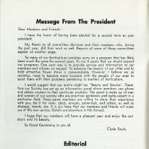 Image of Message from the President; Editorial, p.2