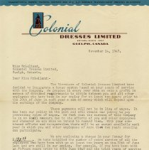 Image of Letter re Profit-Sharing, Colonial Dresses Ltd, 1947