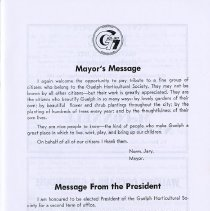 Image of Mayor's Message; Message from the President, p.5