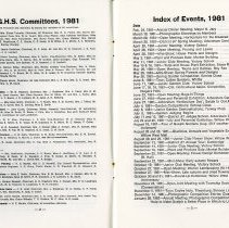 Image of G.H.S. Committees; Index of Events, 1981, pp.2-3