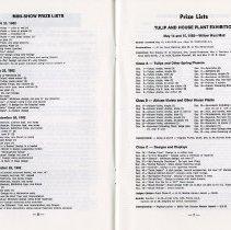 Image of Mini-Show Prize Lists; Prize Lists, Tulip & House Plant Exhibition