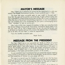 Image of Mayor's Message; Message from the President, p.1