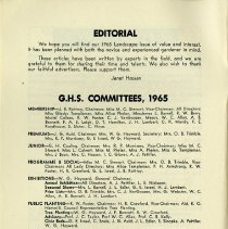 Image of Editorial; G.H.S. Committees 1965, p.4