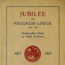 Image of Program for Jubilee of Progress Lodge, No.158, I.O.O.F., 1925