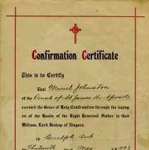 Image of Confirmation Certificate, Church of St. James the Apostle, 1923