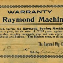 Image of Raymond Machine Warranty Pinned to Instruction Book