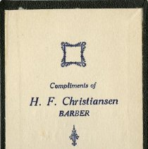 Image of Inside Cover of Notebook, H. F. Christiansen, Barber
