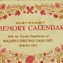 Image of Advertising Calendar, Walker's Greeting Card Dept., 1962