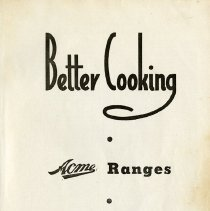 Image of Title Page of Better Cooking Pamphlet