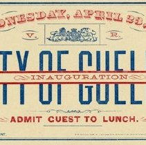 Image of Guelph Inauguration Guest Ticket for Lunch, 1879