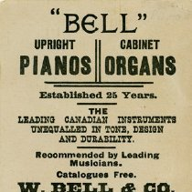 Image of Advertising card, W. Bell & Co., 1889