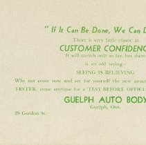 Image of Advertising Card/Blotter, Guelph Auto Body