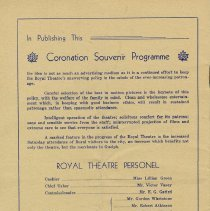 Image of Royal Theatre Personel, back cover