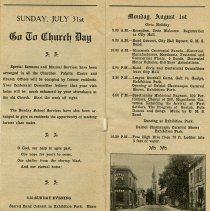 Image of Schedule for Sunday July 31st & Monday, August 1st, 1927