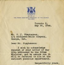 Image of Letter from George Drew to W.J. Stephenson, 1944