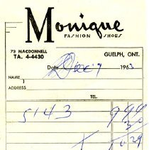 Image of Bill of Sale from Monique Fashion Shoes, 1963