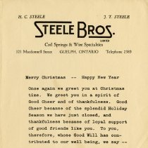 Image of Xmas Greetings from Steele Bros.