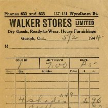 Image of Invoice from Walker Stores Limited, 1944