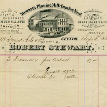 Image of Invoice from Stewart's Planing Mill and Lumber Yard, 1882