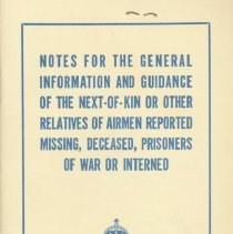 Image of Next-of-kin Pamphlet, front cover, 1943