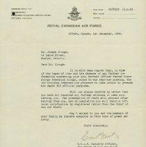 Image of Letter - G.F. Clough Presumed Dead, December 1, 1944
