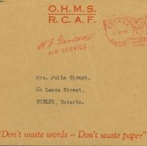 Image of Letter -re. Personal Effects, envelope, July 17, 1945