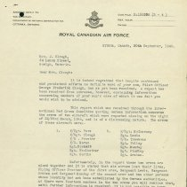 Image of RCAF Letter Death of G. Clough pg 1