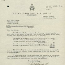 Image of RCAF G. Clough Estate Letter pg. 1