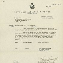Image of RCAF Estate Letter George Clough