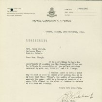Image of RCAF Letter Operational Wings G. Clough