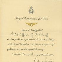 Image of RCAF Operational Wings Certificate G. Clough