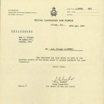 Image of RCAF Letter Re: Log Book G. Clough