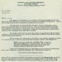 Image of Letter & Order Form G. Clough Memorial