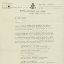 Image of Missing In Action Confirmation Letter, page 1, April 14, 1944.