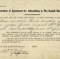 Image of Advertising Contract with the Guelph Mercury, 1948