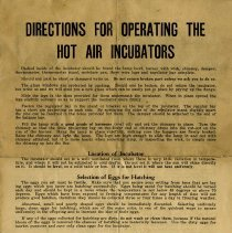 Image of Directions for Operating the Hot Air Incubators