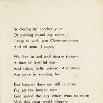 Image of Poem inside Christmas Card, 1915