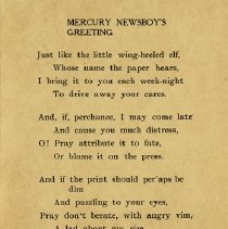 Image of Greeting from the Mercury Newsboy, 1911