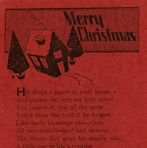 Image of Christmas Card from Guelph Mercury Carrier Boy, 1931