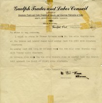 Image of Letter from Guelph Trades and Labor Council. Jan. 14, 1924