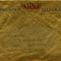 Image of .2 Telegram Envelope to Mrs. Davies, North Harrow