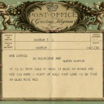Image of .1 - Telegram to Mrs. Davies, 1936